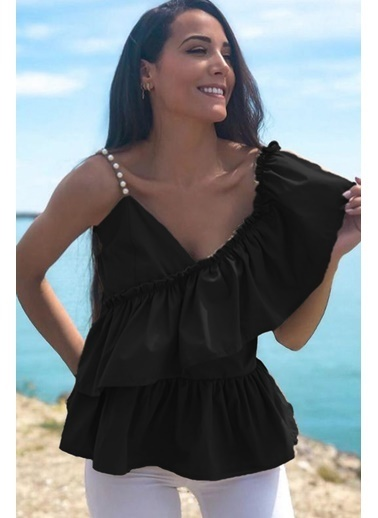 BLACK&GRACE Kadın Taba Omuzu İnci Detaylı Bluz Siyah